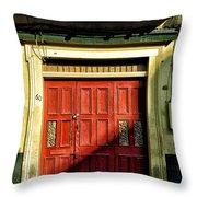 Red Door In Half Shadow Throw Pillow