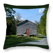 Red Door Of The One Room School House Throw Pillow