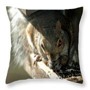 Red Eyed Demon Squirrel Throw Pillow