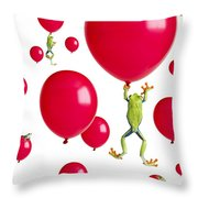 Red-eyed Treefrogs Floating On Red Throw Pillow by Corey Hochachka