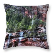 Red Falls Throw Pillow