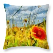 Red Flower In The Field Throw Pillow