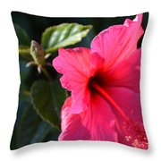 Red Flower Throw Pillow by Saifon Anaya
