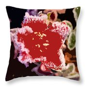Red Flower With Frost Throw Pillow