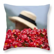 Red Flowers And Straw Hat Throw Pillow