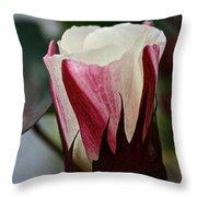 Red Foliated White Throw Pillow