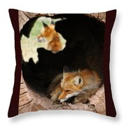 Red Fox Dreaming Throw Pillow
