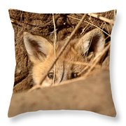 Red Fox Pup Peaking Out Of Den Throw Pillow