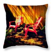 Red Garden Chairs Throw Pillow