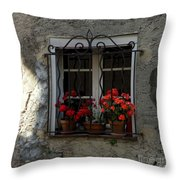 Red Geraniums In Window Throw Pillow