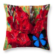Red Gladiolus And Blue Butterfly Throw Pillow