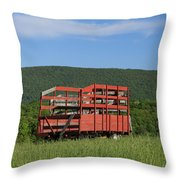 Red Hay Wagon In Green Mountain Field Throw Pillow