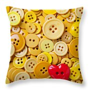 Red Heart And Yellow Buttons Throw Pillow