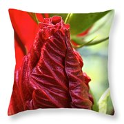 Red Hibiscus Torch Throw Pillow