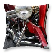 Red Hot Rod- Light And Chrome Throw Pillow