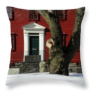 Red House And Snow Throw Pillow