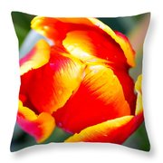 Red In A Tulip Throw Pillow