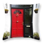 Red Irish Door Throw Pillow