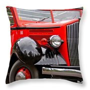 Red Jammer Tour Bus Glacier National Park Throw Pillow