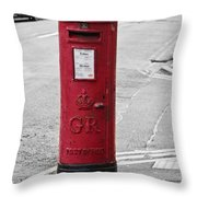 Red King George V Postbox Throw Pillow