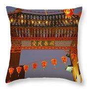 Red Lanterns And Gate On Gerrard Street Throw Pillow