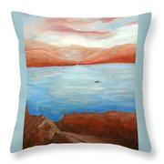 Red Leaf In Lake Juliette Throw Pillow
