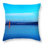 Red Lighthouse In Cayuga Lake New York Throw Pillow by Paul Ge