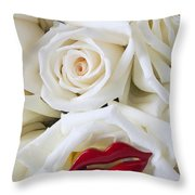 Red Lips And White Roses Throw Pillow