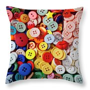 Red Lips Button Throw Pillow