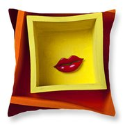 Red Lips In Yellow Box Throw Pillow