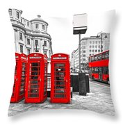 Red London Throw Pillow