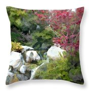 Red Maple Above The Falls Throw Pillow