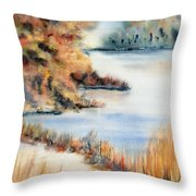 Red Maple Lake Throw Pillow