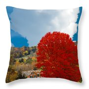 Red Maple White Cloud Throw Pillow
