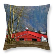 Red Matsqui Barn Throw Pillow