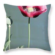 Red Opium Poppy Throw Pillow