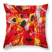 Red Orange Abstract Throw Pillow