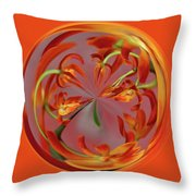 Red Orange Orchid Orb Throw Pillow