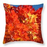 Red Orange Yellow Autumn Leaves Art Prints Vivid Bright Throw Pillow
