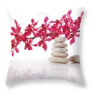 Red Orchid With Balance Stone Throw Pillow