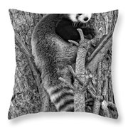 Red Panda 2 Monochrome Throw Pillow