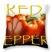 Red Peppers On White And Black Throw Pillow