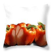 Red Peppers On White Throw Pillow