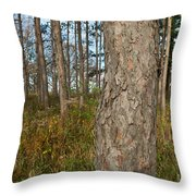 Red Pine Forest Throw Pillow