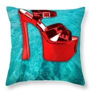 Red Platform Divers Throw Pillow