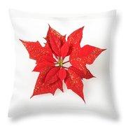 Red Poinsettia Flower Throw Pillow