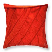 Red Poinsettia Leaf Throw Pillow