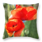Red Poppies In Sunlight Throw Pillow