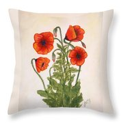 Red Poppies Watercolor Painting Throw Pillow