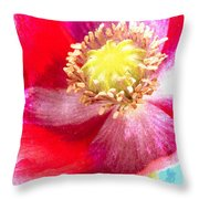 Red Poppy On Blue Throw Pillow